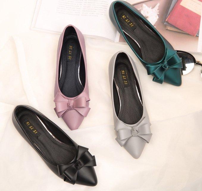 Pyf ? 光澤感霧面 金屬低跟 緞帶蝴蝶結 尖頭平底鞋 43 大尺碼女鞋