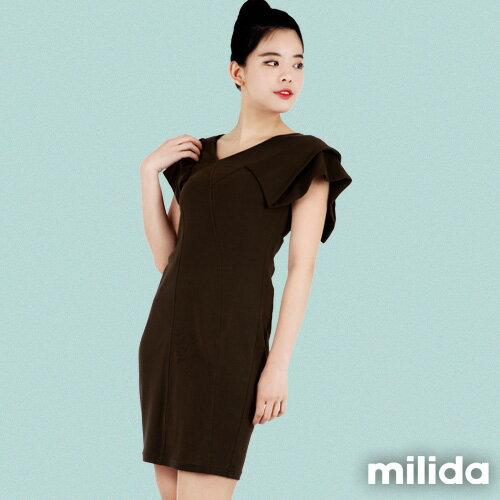 【Milida,全店七折免運】-早春商品-素色款-合身公主袖洋裝 0
