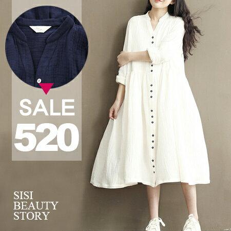 SISI~D6050~復古森林系 立領寬鬆開襟單排扣長袖連身長裙洋裝