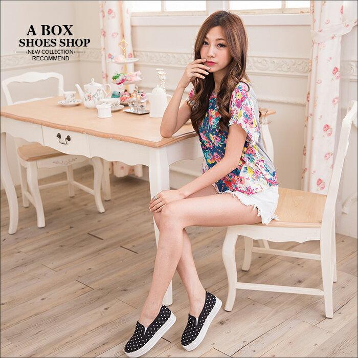 格子舖*【AR1517H】韓版優質 俏皮可愛點點 鬆緊好穿脫 厚底休閒便鞋懶人鞋 樂福鞋 3色 1