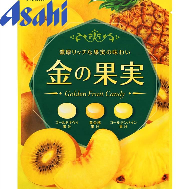 【Asahi朝日】 三種類黃金水果果汁硬糖-黃金奇異果/黃金桃/黃金鳳梨 79g 金?果?????? 日本零食