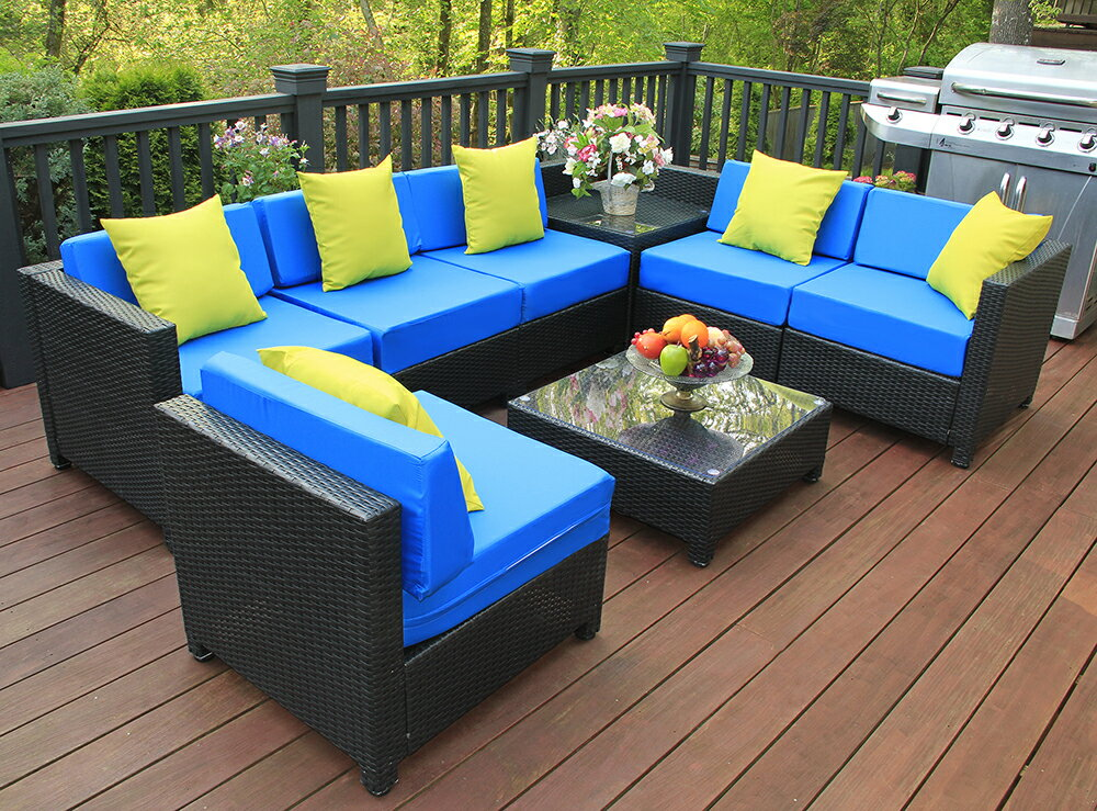 Mcombo Aluminum Outdoor Patio Furniture Sectional Set Black Wicker Sofa All Weather Resin Rattan Conversation Chair With Water Resistant