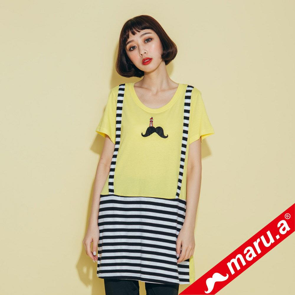 【maru.a】條紋拼接假吊帶長版T-shirt(2色)8321320 0