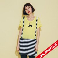 【maru.a】條紋拼接假吊帶長版T-shirt(2色)8321320-marua-流行女裝