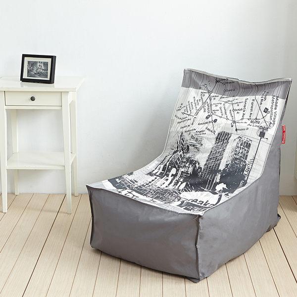 【漫步城市】高靠背L型座椅幾何印花懶骨頭/沙發椅 ★班尼斯國際家具名床