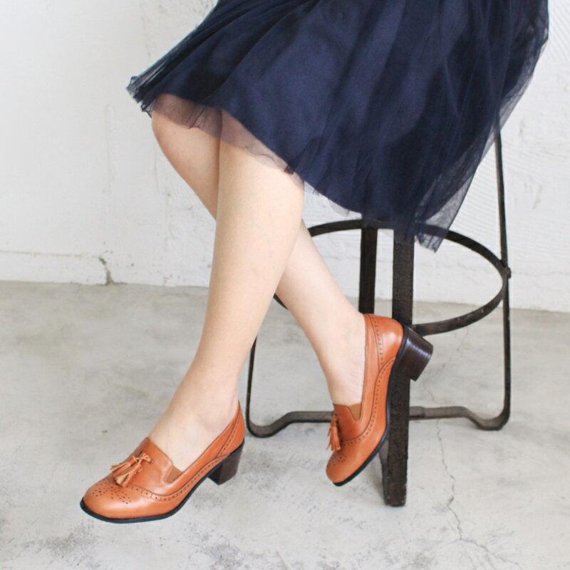 【P2-17102L】真皮雕花粗跟牛津鞋_Shoes Party 2
