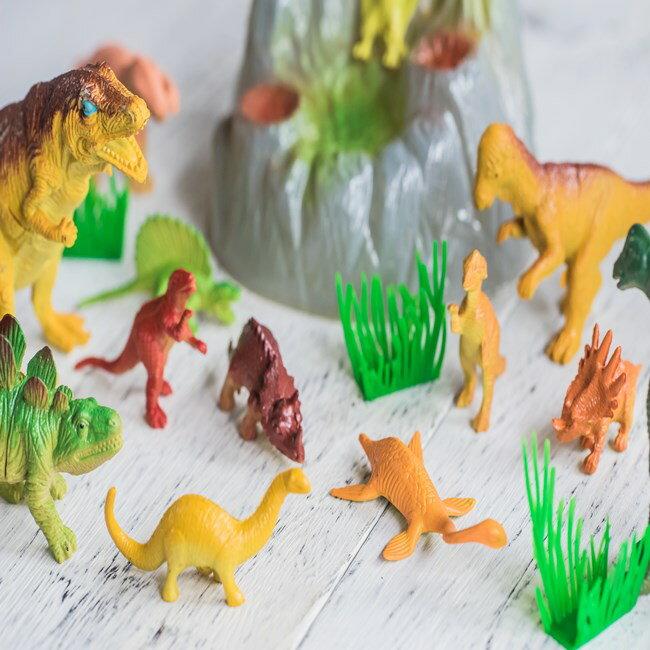 恐龍 家家酒 迷你家家酒 模型 侏儸紀公園 恐龍 暴龍 迅猛龍 14入套餐(含石頭) 學習/認知【塔克】