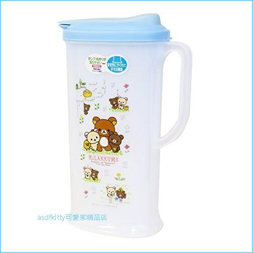 asdfkitty可愛家☆日本san-x拉拉熊藍蓋塑膠冷水壺-2L-日本製