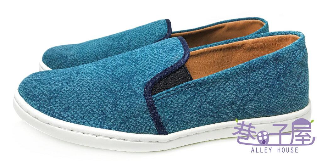 【巷子屋】吉梵范倫鐵諾 男款蛇紋懶人運動休閒鞋 [9039] 藍 MIT台灣製造 超值價$198
