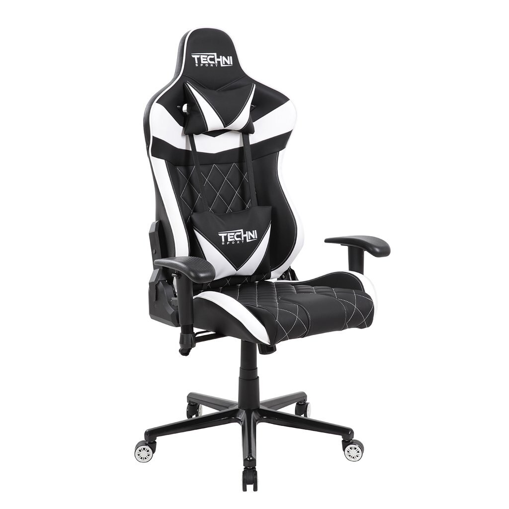 Techni Sport TSXL1 Black / White High Capacity GAMING CHAIR For Comfortable  Extended Play Times