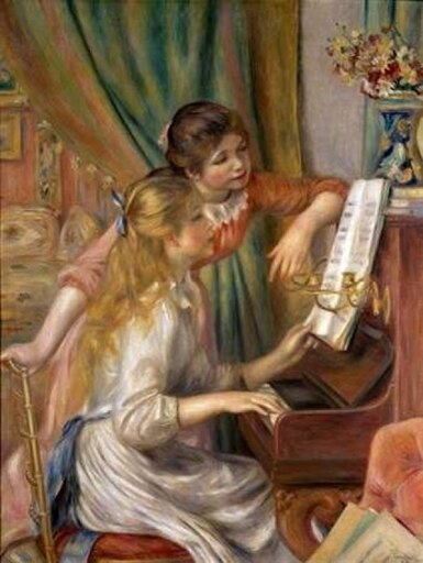Bentley Global Arts PDX279691SMALL Two Young Girls At The Piano Poster Print by Pierre-Auguste Renoir, 11 x 14 - Small e1abc4fc82dad5bd02c4926e260c9f4b
