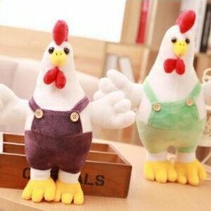 美麗大街【105122130】可愛大公雞公仔背帶雞玩偶 雞年 吉祥物(30公分)