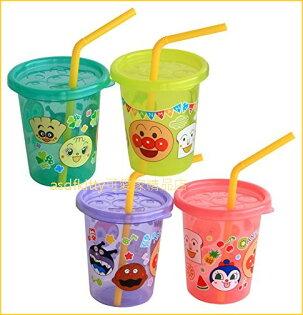 asdfkitty可愛家☆麵包超人4入塑膠吸管杯-180ML-粉紫藍黃-日本正版商品