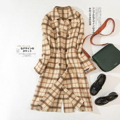毛呢外套羊毛大衣-格紋長款過膝雙排扣女外套2色73ty55【獨家進口】【米蘭精品】