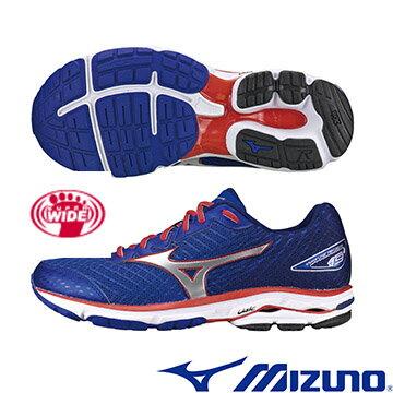 J1GC160491(丈青X銀)慢跑鞋的代名詞 WAVE RIDER 19 SW 男超寬楦慢跑鞋 A【美津濃MIZUNO】