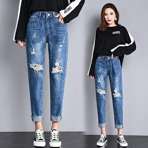 高腰破洞牛仔褲(4色S~2XL) 【OREAD】 0