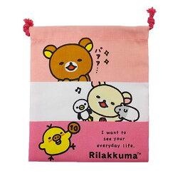 日常生活款【日本進口正版】San-X 拉拉熊 束口袋 收納袋 抽繩束口袋 懶懶熊 Rilakkuma - 425043