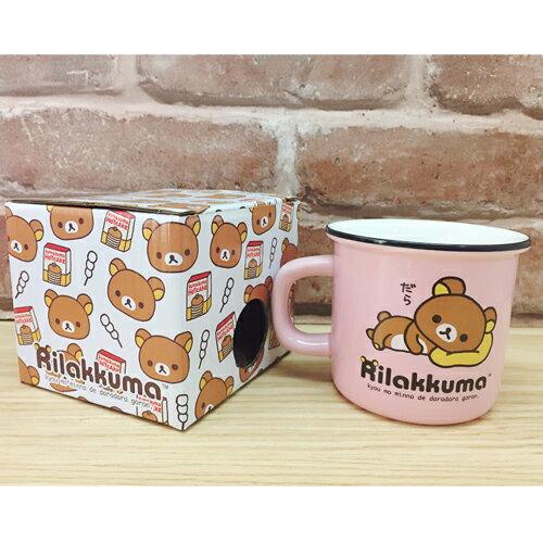 【真愛日本】17060800017 陶瓷口壺馬克杯-懶熊趴姿粉 SAN-X 奶妹 奶熊 拉拉熊 水杯 杯子 茶杯