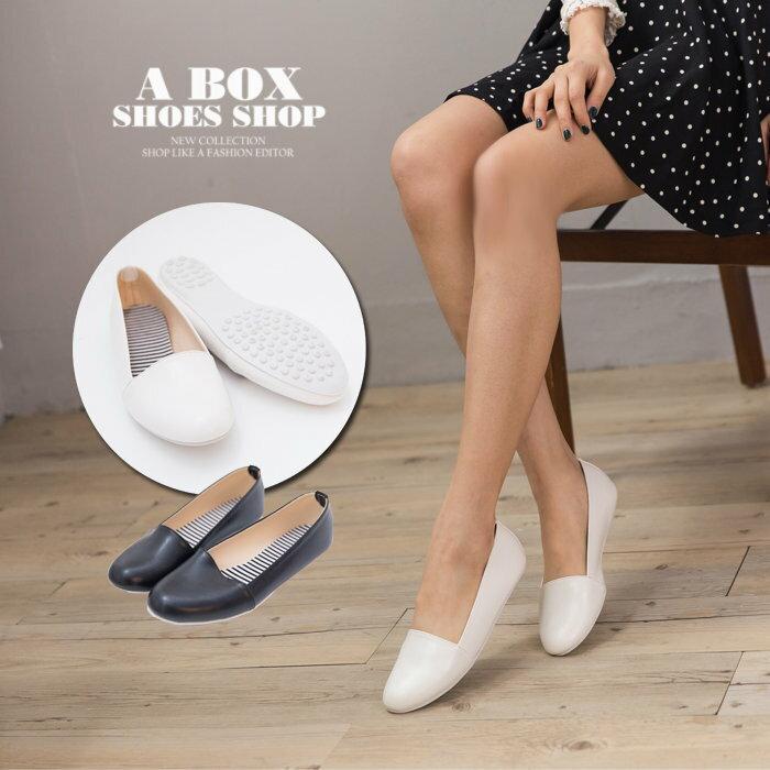 格子舖*【AW511】MIT台灣製 簡單大方時尚 素面光澤皮革 圓頭包鞋 豆豆鞋 2色 - 限時優惠好康折扣
