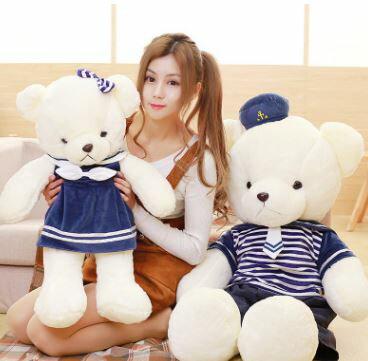 美麗大街【HB107031212】創意可愛情侶海軍熊穿衣條紋熊(70cm)