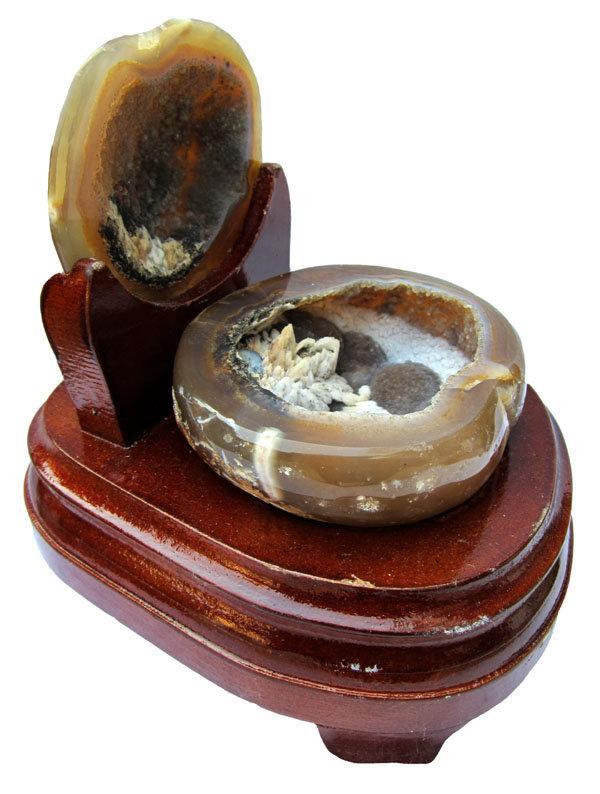 瑪瑙聚寶盆擺件白水晶聚寶盆0.92kg