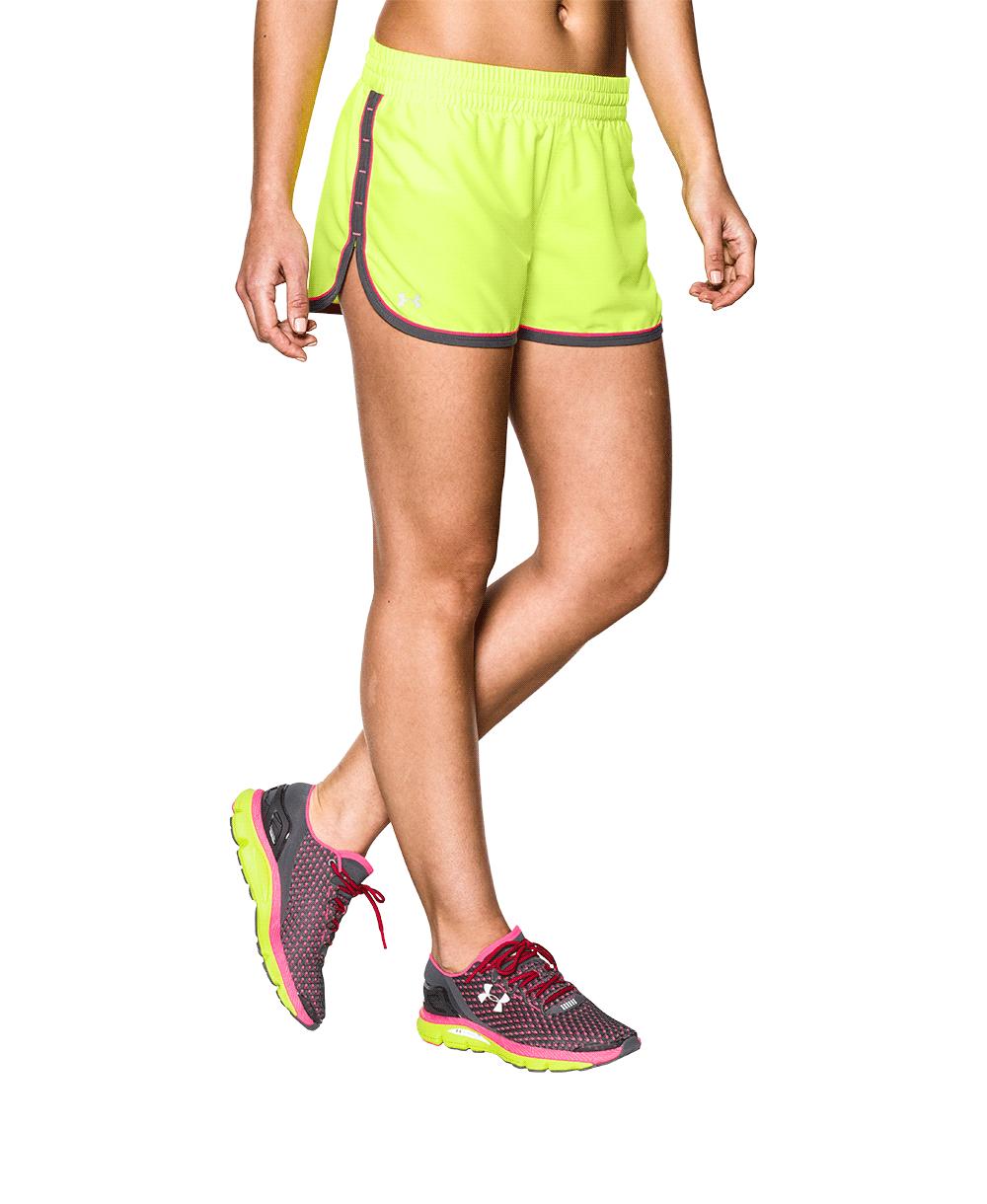 《UA出清5折》Shoestw【1237616-787】UNDER ARMOUR UA服飾 慢跑短褲 運動褲 螢光黃 女生