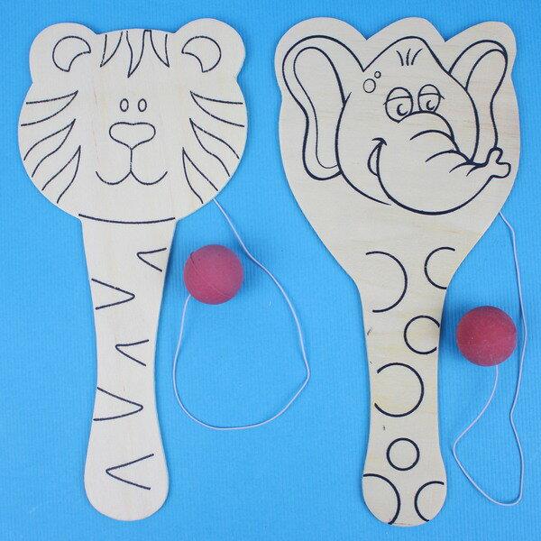 彩繪回力球拍 動物造型木板波板球拍/一個入{促30} 波板拍 回力拍 迴力拍球板~5354