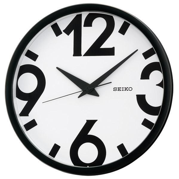 Seiko 精工鐘 (QXA476A) 日本設計風格大數字圓形掛鐘/黑白 31 cm