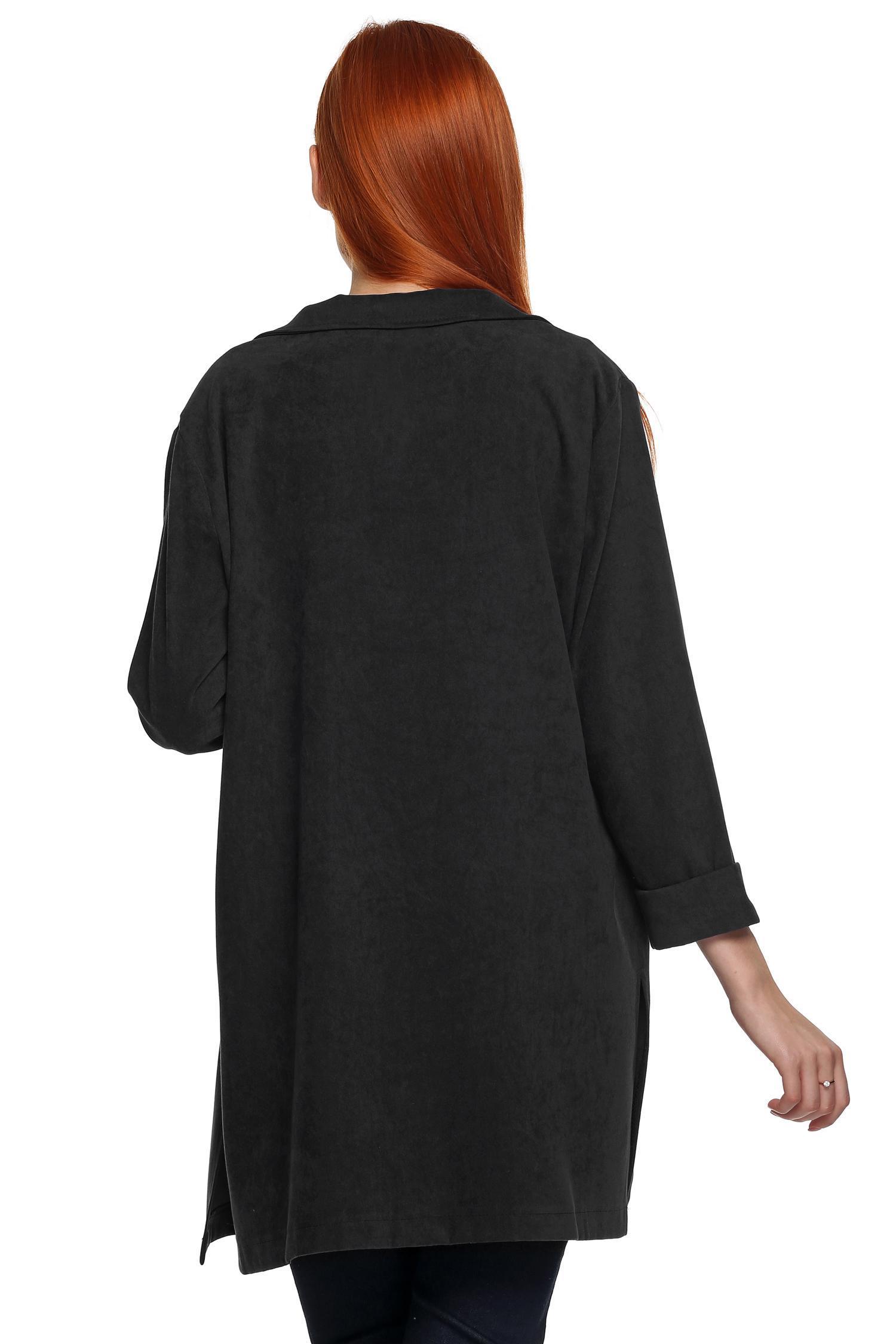 Zeogoo Women Lapel Long Sleeve Open Front Side Split Trench Long Coat Outwear 0