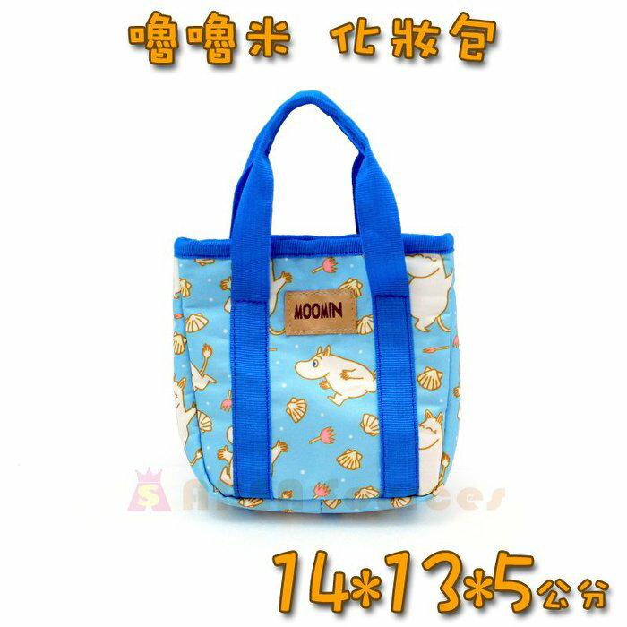 ~禾宜 ~^~ Moomin 嚕嚕米 姆明 化妝包 ^(藍^) 小物 收納 托特包   M