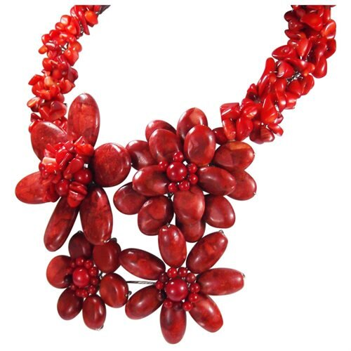 Bold Large Red Coral Flower Garland .925 Silver Necklace 2