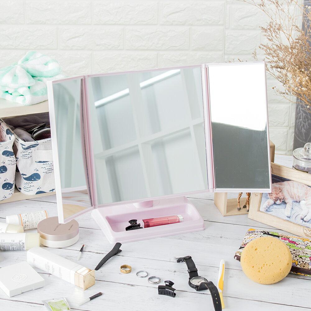 經典菱格紋造型 化妝鏡 360度可旋轉收納鏡 三折鏡面設計 情人節【C001】