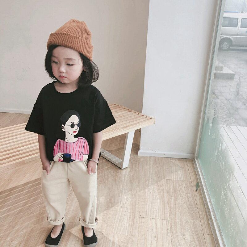 2019兒童春季夏季童裝 女童卡通女孩可愛百搭短袖T恤中小童上衣1入