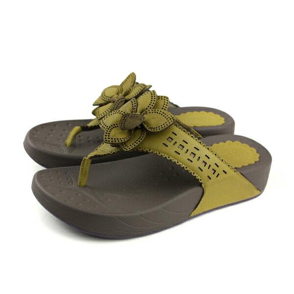 HUMANPEACE夾腳拖鞋芥末綠女鞋3836-16-L120no141