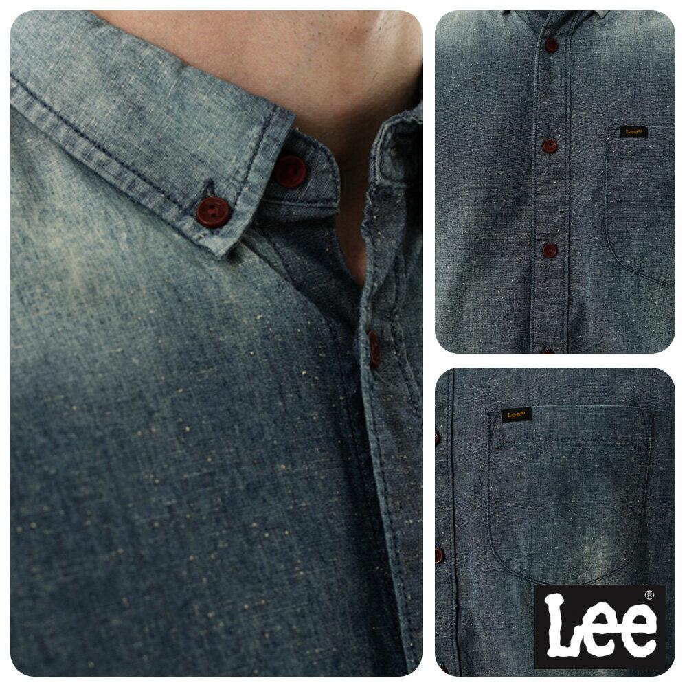 Lee 牛仔襯衫 棉點竹節深淺漸層 -男款-中古淺藍 8