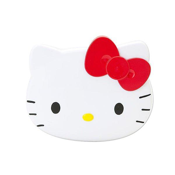 【真愛日本】12082700018 日本製臉型鏡梳組-大臉紅結 Kitty 凱蒂貓 化妝鏡 隨身鏡 正品