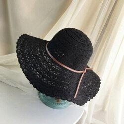 PS Mall 韓版蕾絲鏤空遮陽帽大沿沙灘帽【G1005】