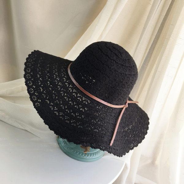 PSMall韓版蕾絲鏤空遮陽帽大沿沙灘帽【G1005】