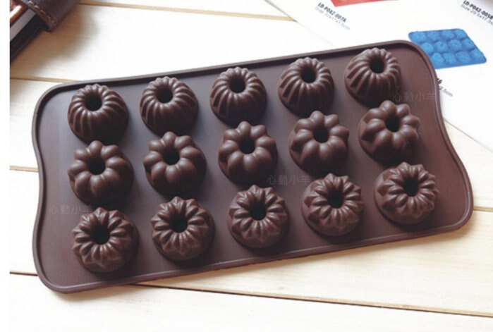 心動小羊^^耐高溫甜甜圈矽膠巧克力模、迷你手工皂蠟燭果凍布丁模製冰格