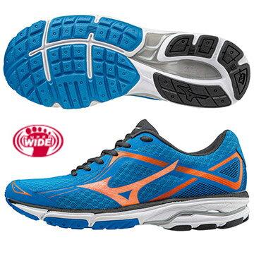 J1GC172354(水藍X橘)輕量一般型鞋款  WAVE UNITUS DC SW 男超寬楦慢跑鞋 S【美津濃MIZUNO】