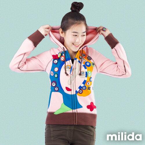 【Milida,全店七折免運】-秋冬單品-外套款-拼貼連帽外套 0