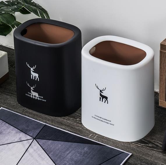 【快速出貨】北歐無蓋垃圾桶簡約雙層家用客廳創意北歐風ins臥室廁所衛生間大  七色堇 新年春節送禮
