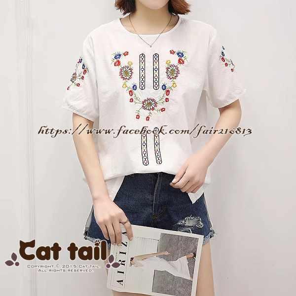 《貓尾巴》JP-01697民族風精緻刺繡短袖上衣(森林系日系棉麻文青清新)