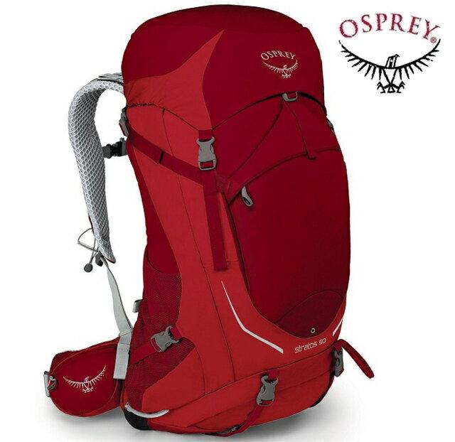 Osprey Stratos 50 登山背包/郊山背包/中背包/網架背包/50公升背包 男款 紅色