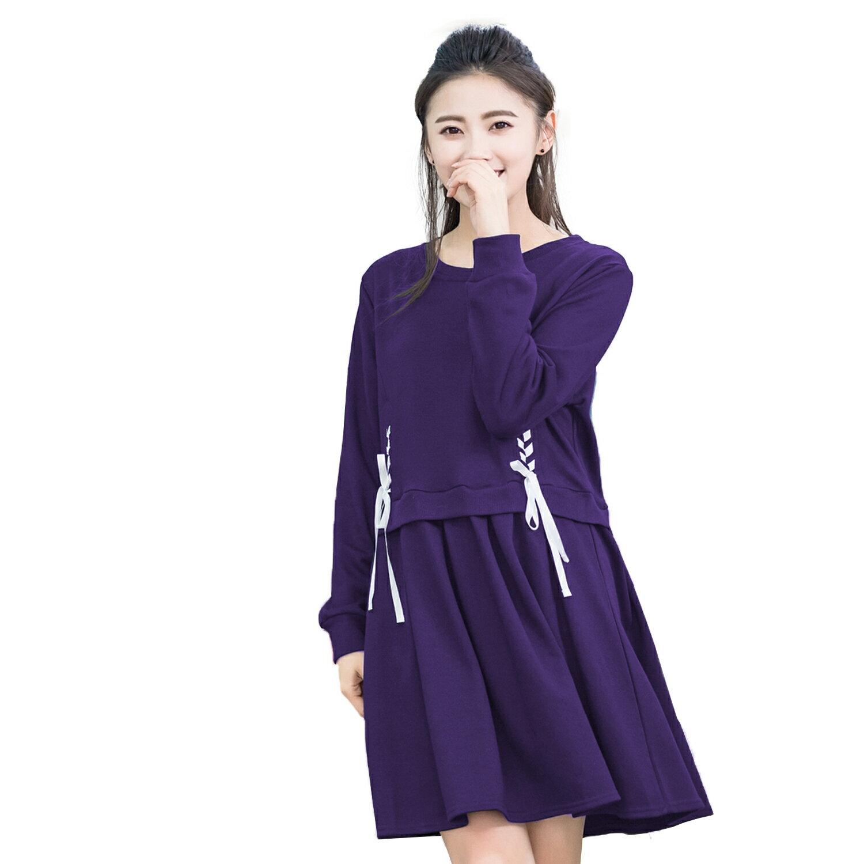 休閒洋裝--元氣活力動感可愛圓領拼接羅紋袖口雙側配色綁帶長袖洋裝(黑.紫XL-5L)-A280眼圈熊中大尺碼 1