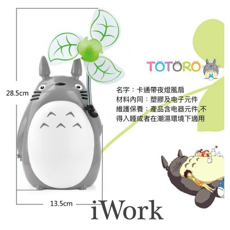 【iWork】20005 龍貓卡通小風扇創意充電夜燈宿舍電扇燈靜音學生電風扇USB小風扇(白色肚)
