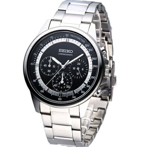 SEIKO都會時尚計時腕錶黑SBTQ077J(7T11-0BH0D)