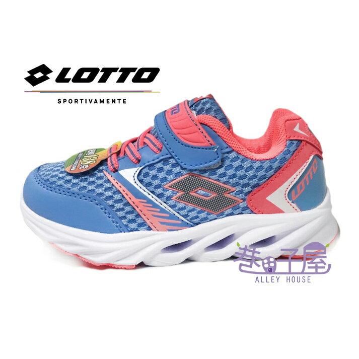 【巷子屋】義大利第一品牌-LOTTO 女童風動減震透氣超輕量運動慢跑鞋 138g [5637] 水藍/粉桔 超值價$398