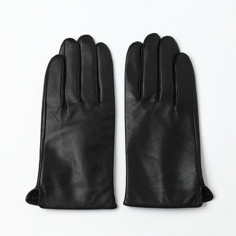 觸控手套真皮手套-山羊皮加絨經典光板女手套73wm52【獨家進口】【米蘭精品】 0