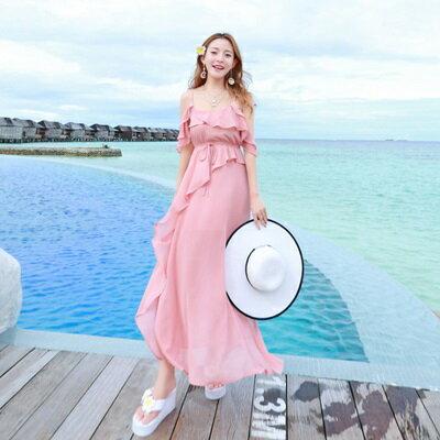 波希米亞長裙-海邊渡假時尚甜美荷葉邊連衣裙73sg63【獨家進口】【米蘭精品】
